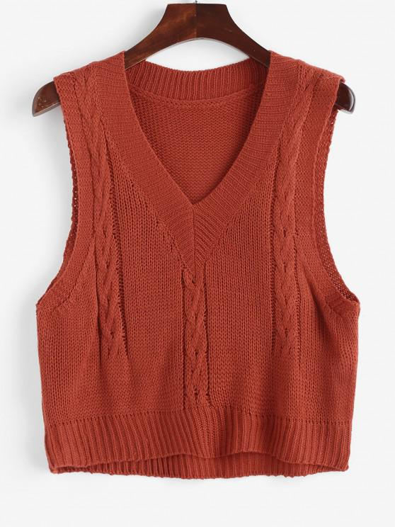Cable Knit Sweater Vest - أحمر حجم واحد