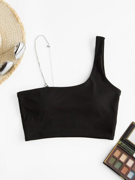 new ZAFUL Diamante Strap Skew Neck Ribbed Swim Top - BLACK S