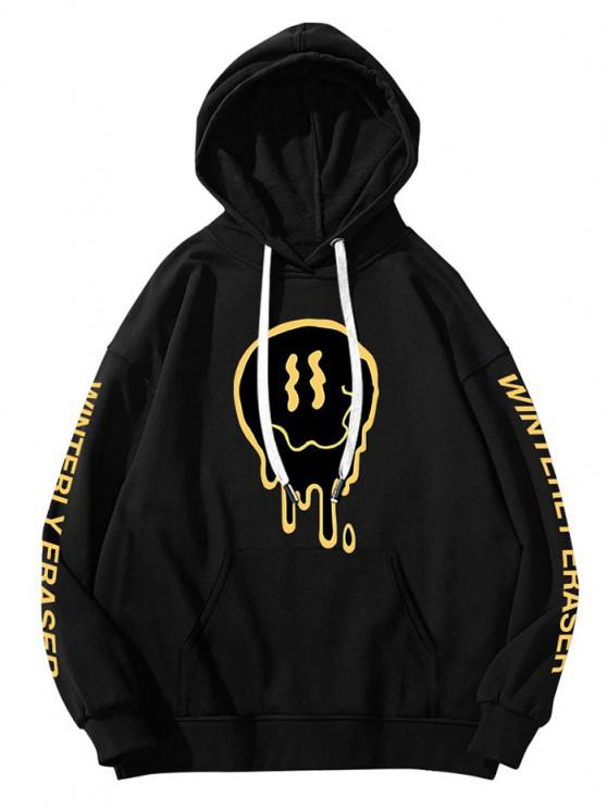 fancy Drip Face Winterly Eraser Pattern Hoodie - BLACK 2XL