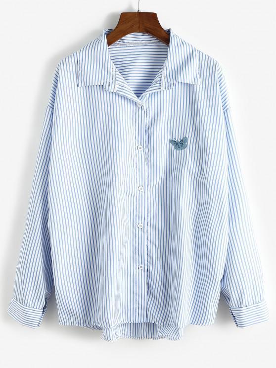 Oversize Stripes Butterfly Embroidered Shirt - باستيل بلو M