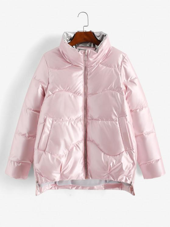 buy Pockets Zip Up Wet Look Puffer Coat - LIGHT PINK XL