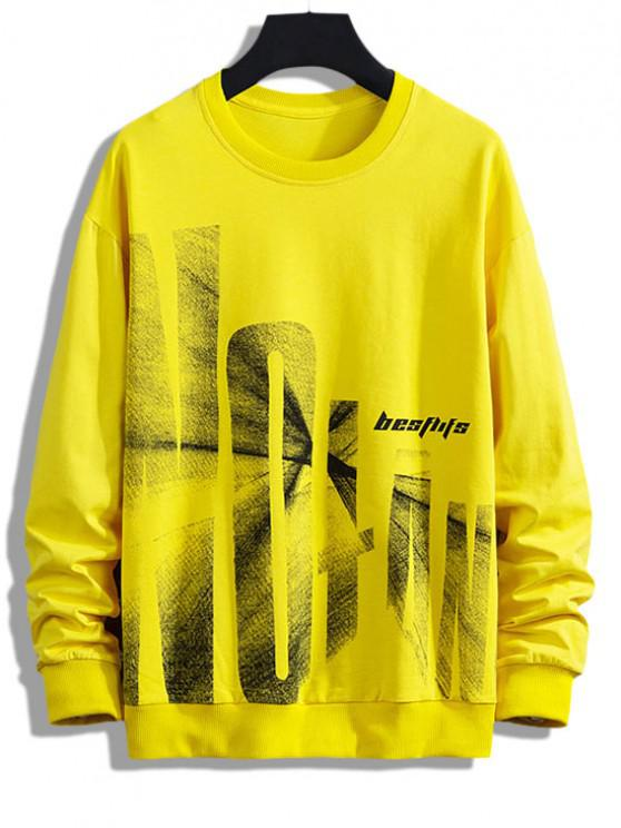 women's Letter Graphic Print Drop Shoulder Rib-knit Trim Sweatshirt - YELLOW XS