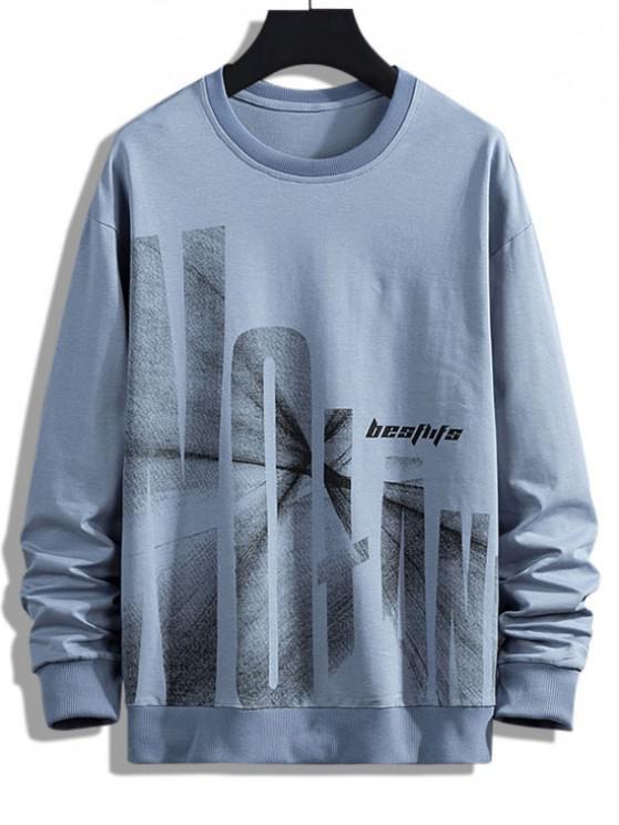 fashion Letter Graphic Print Drop Shoulder Rib-knit Trim Sweatshirt - BLUE S