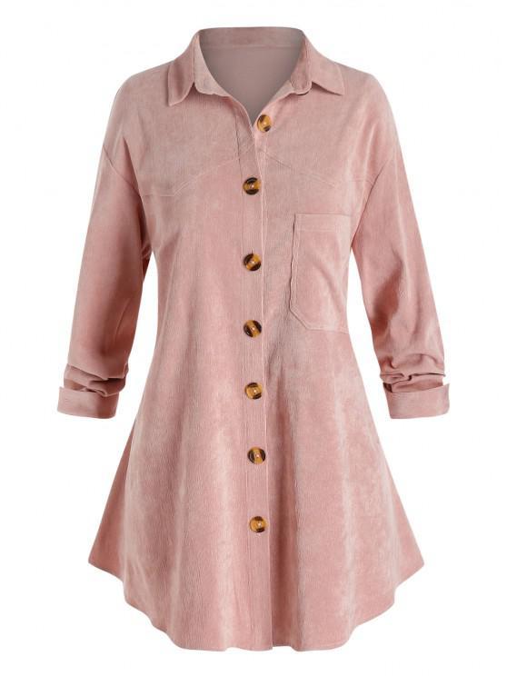 Veste Chemise à Goutte Epaule avec Poche Poitrine de Grande Taille en Velours Côtelé - Rose Cochon L