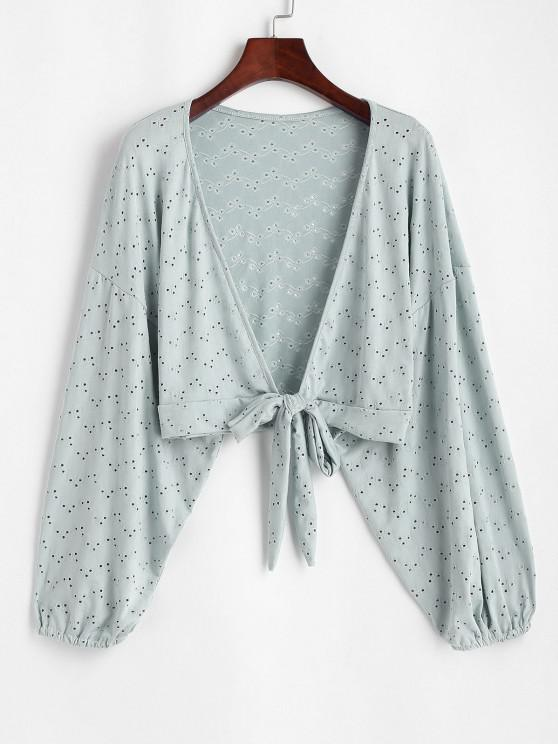 best Broderie Anglaise Batwing Tie Front Top - LIGHT GREEN ONE SIZE