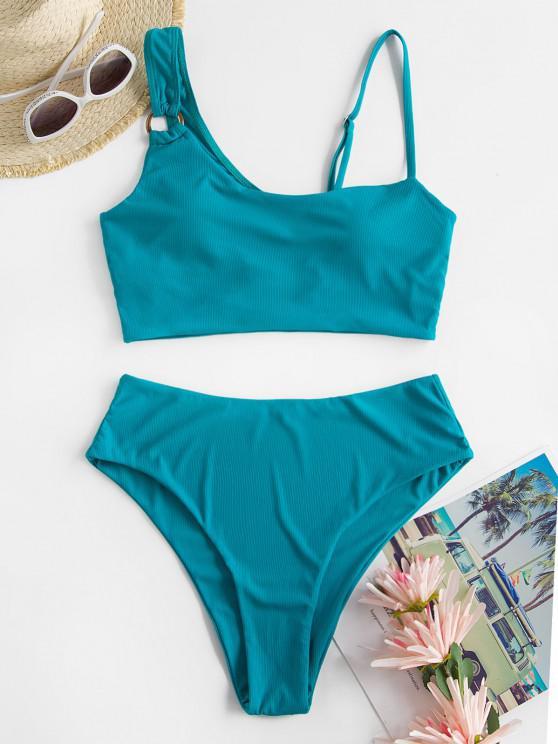 best ZAFUL High Waisted Ribbed O-ring Tankini Swimwear - LIGHT GREEN S
