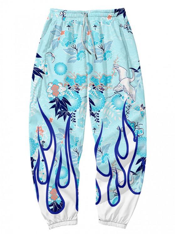 women's Fire Flame Graphic Beam Feet Pants - ROBIN EGG BLUE 2XL