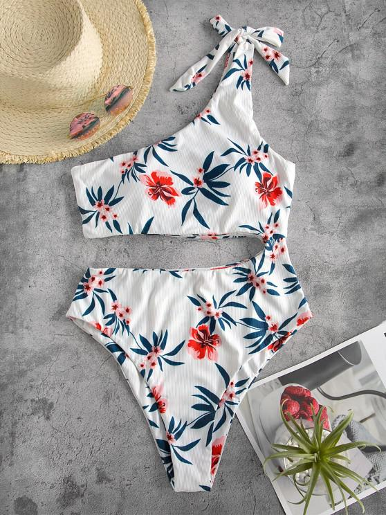 fashion ZAFUL Tie One Shoulder Floral Ribbed One-piece Swimsuit - WHITE M