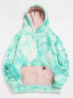 Front Pocket Applique Tie Dye Faux Fur Fluffy Hoodie - Light Aquamarine M