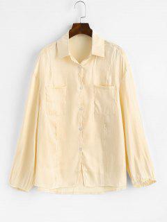 Chemise Brillante Boutonnée Avec Poches En Avant - Jaune Clair S