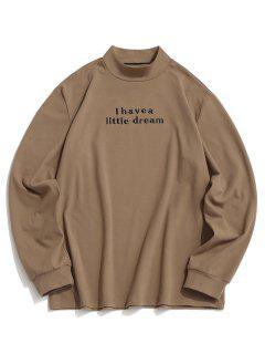 ZAFUL Letter Embroidered Mock Neck Slogan Fleece T-shirt - Light Coffee Xs