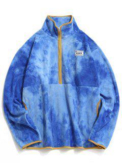 Half Zip Tie Dye Fleece Sweatshirt - Blue M