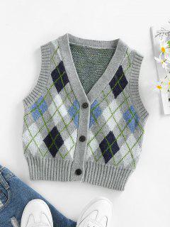 ZAFUL Argyle Button Up Vest Cardigan - Multi Xl