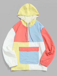 Colorblock Panel Half Zipper Windbreaker Hoodie - Yellow M