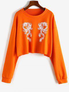 Pullover Oriental Dragon Cropped Sweatshirt - Orange Xs