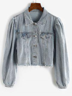 Puff Sleeve Frayed Hem Cropped Denim Jacket - Blue Gray Xl