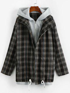 ZAFUL Plaid 2 In 1 Hooded Double Zip Jacket - Black M