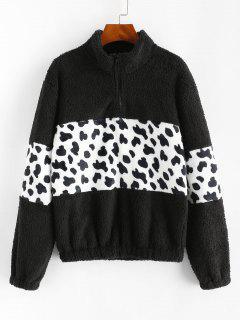 Leopard Flauschiger Sweatshirt Mit Reißverschluss - Schwarz M
