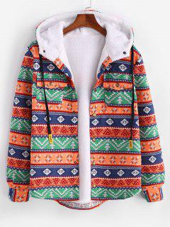Ethnic Tribal Pattern Plush Hooded Shirt Jacket - Dark Orange M