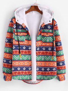 Ethnische Tribal Muster Plüsch Kapuzenjacke - Dunkles Orange L