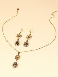 Faux Crystal Water Drop Jewelry Suit - Golden