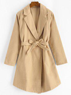 Snap Button Belted Wool Blend Coat - Light Coffee M