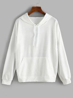 Front Pocket LIKE A GIRL Butterfly Back Hoodie - White M