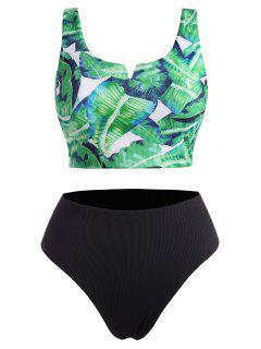 ZAFUL Plus Size V-wired Palm Leaf Ribbed Tankini Swimwear - Deep Green Xxl