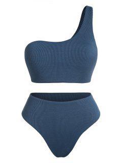 ZAFUL Plus Size Ribbed One Shoulder Tankini Swimwear - Blue Xxxl