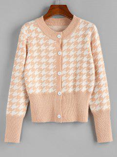 ZAFUL Houndstooth Button Up Ribbed Hem Cardigan - Light Orange M