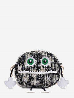 Cartoon Robot Pattern Chain Crossbody Bag - Black