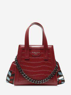 Chain Embossing Solid Crossbody Bag - Red
