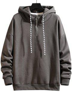 Drawstring Quarter Zip Fleece Hoodie - Dark Gray S