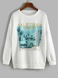 Oversize Car CALIFORNIA Graphic Sweatshirt - White M