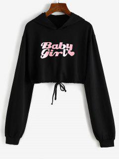Heart Baby Girl Graphic Cropped Hoodie - Black Xl