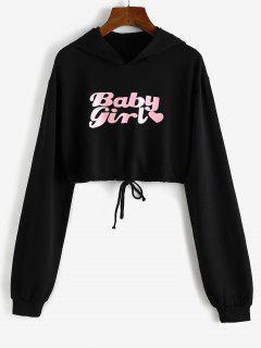 Herz Baby Mädchen Grafik Kurzer Hoodie - Schwarz Xl