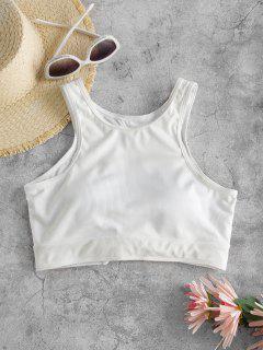 ZAFUL Ribbed Racerback Cropped Tank Bikini Top - White S