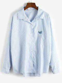 Oversize Stripes Butterfly Embroidered Shirt - Pastel Blue M