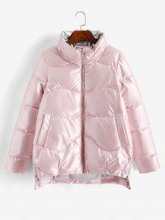 Pockets Zip Up Wet Look Puffer Coat - Light Pink Xl