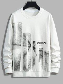 Letter Graphic Print Drop Shoulder Rib-knit Trim Sweatshirt - White S