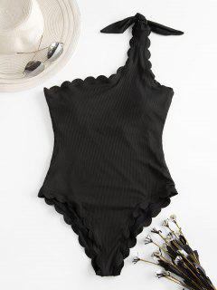 ZAFUL Scalloped Ribbed One Shoulder One-piece Swimsuit - Black L
