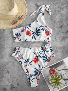 ZAFUL Tie One Shoulder Floral Ribbed One-piece Swimsuit - White M