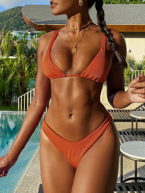 unique ZAFUL Ribbed Brazilian High Cut Bikini Swimwear - DARK ORANGE L Mobile