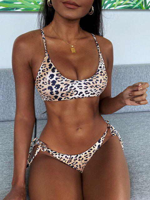 trendy ZAFUL Leopard Ribbed Lace-up Tie Tanga Bikini Swimwear - GOLDEN M Mobile