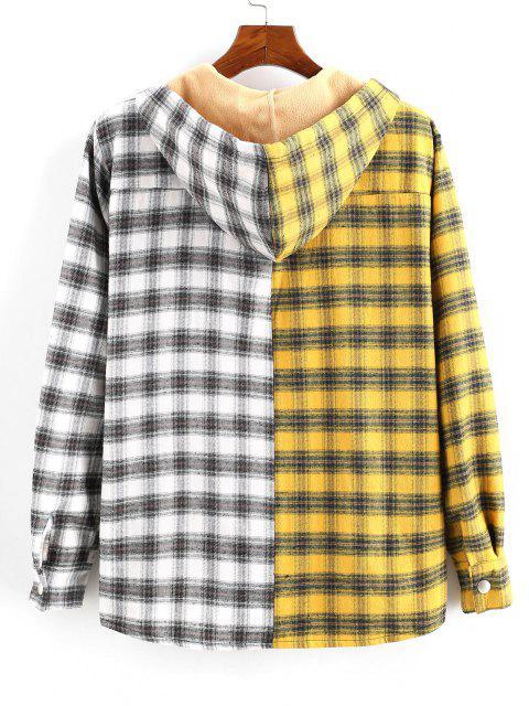 プラッド配色パネルフリースフード付きシャツジャケット - 黄 2XL Mobile