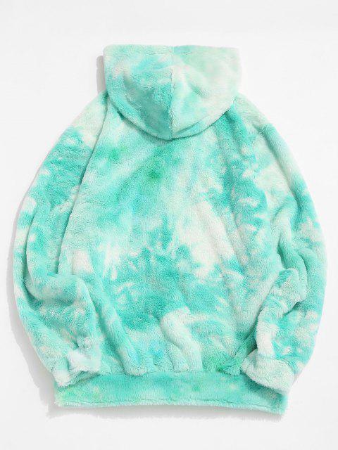 unique Front Pocket Applique Tie Dye Faux Fur Fluffy Hoodie - LIGHT AQUAMARINE S Mobile