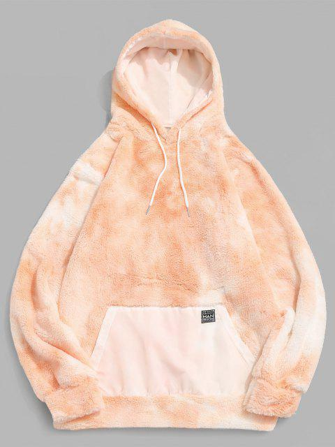 women's Front Pocket Applique Tie Dye Faux Fur Fluffy Hoodie - LIGHT ORANGE M Mobile