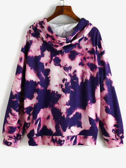 Sun Graphic Tie Dye Front Pocket Hoodie - أرجواني M Mobile