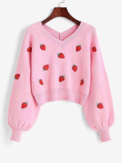 Suéter Largo Gola V com Manga Raglan Bordado - Rosa Claro Um Tamanho Mobile