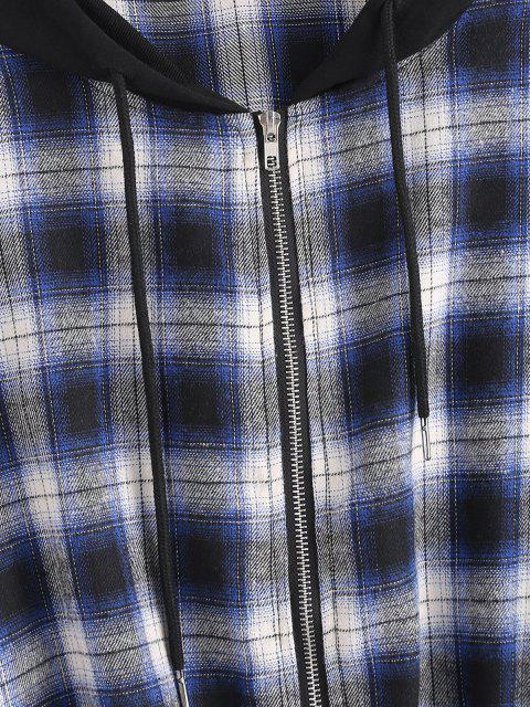 trendy Plaid Hooded Zip Drop Shoulder Jacket - DEEP BLUE S Mobile